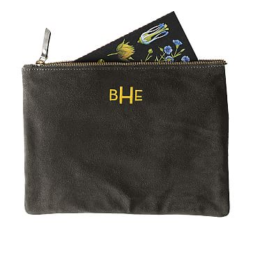 Suede Boho Zip Pouch: Gray