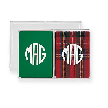 Double Deck Playing Cards, Plaid, Green and Red, Monogrammed