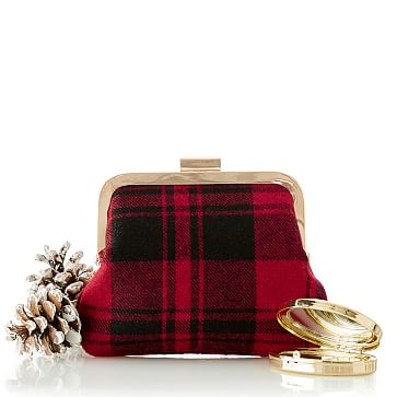 Framed Plaid Hand Purse, Red