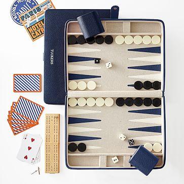 Cribbage and Backgammon Set, Navy