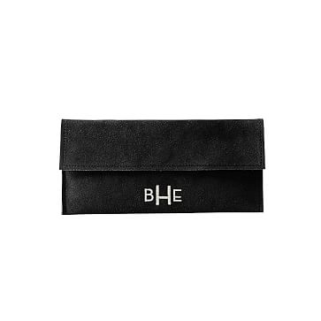Suede Boho Envelope Clutch: Black