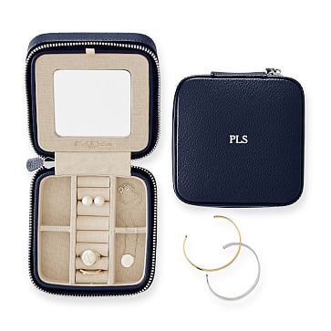 Travel Jewelry Case, Square, Navy