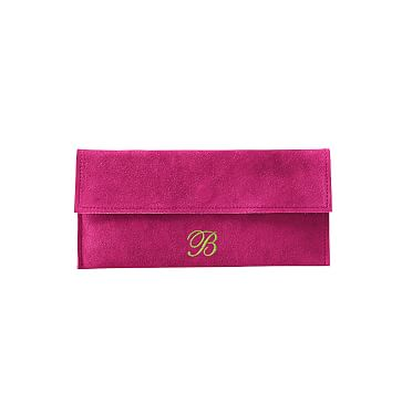 Suede Boho Envelope Clutch: Magenta/Black