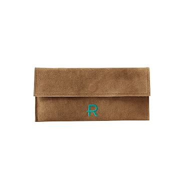 Suede Boho Envelope Clutch: Brown