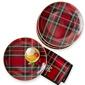 Set of 4 Gold Rimmed Dessert Plate, 8.25 inches, Preppy Plaid