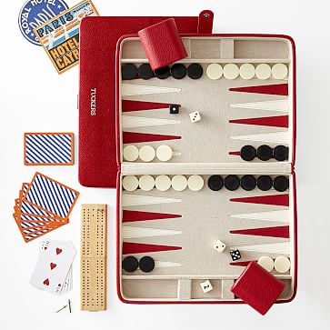Cribbage and Backgammon Set, Red