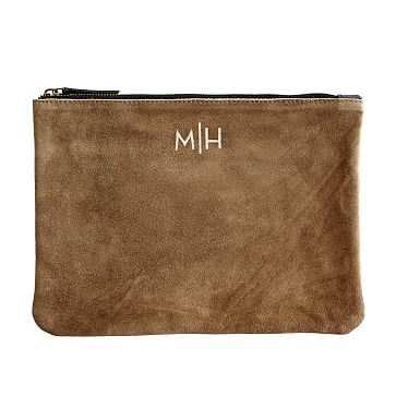 Suede Boho Zip Pouch: Brown