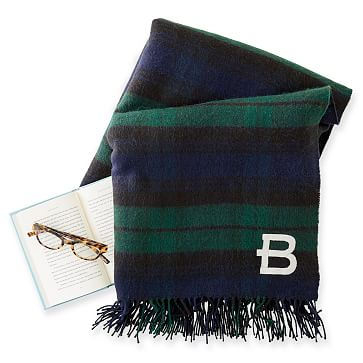 Throw Blanket with Fringe, Oversized Navy and Green Plaid