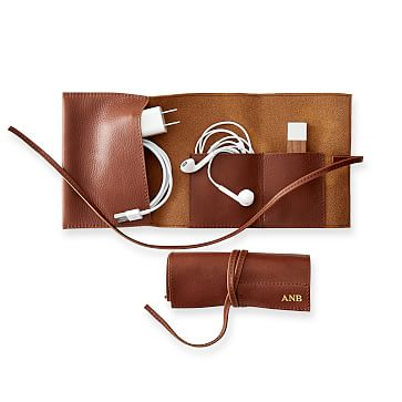 Leather Charger Roll Up, Brown