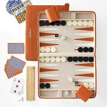 Cribbage and Backgammon Set, Orange