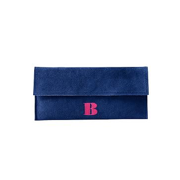 Suede Boho Envelope Clutch: Cobalt/Black