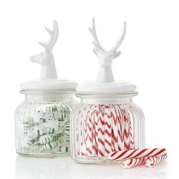 Deer Candy Jar, Porcelain, White and Clear