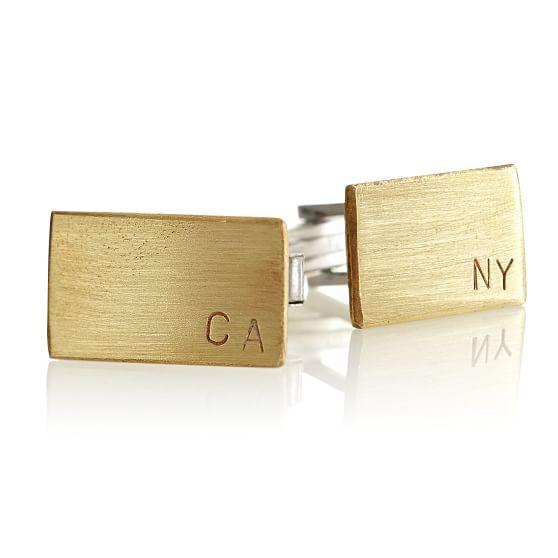 gold rectangle monogram cuff links