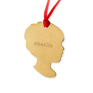 St. Jude Gold Silhouette Ornament, 14k Gold Plate, Boy Cameo