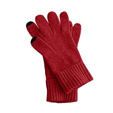 Touch Screen Cashmere Gloves, Red, One Size