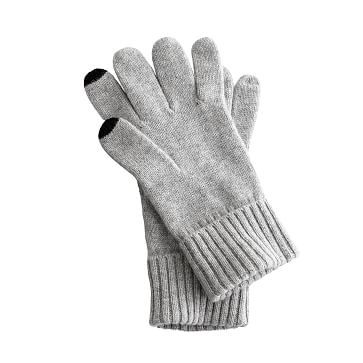 Touch-Screen Cashmere Gloves, Heather Gray