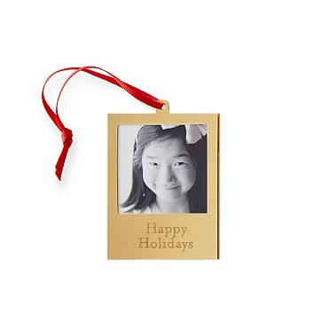 Rectangle Frame Ornament with Grosgrain Ribbon, Snapshot, Gold, Red