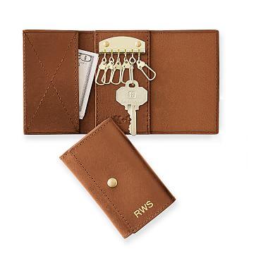 Leather Tri-fold Key Wallet, Saddle