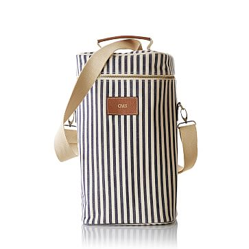 Insulated Double Wine Tote, Navy and White Stripes
