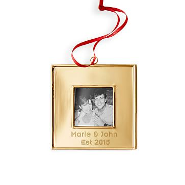 Square Frame Ornament with Grosgrain Ribbon, Square, Gold, Red