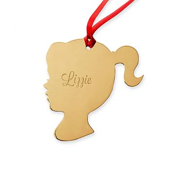 St. Jude Gold Silhouette Ornament, 14k Gold Plate, Girl Cameo