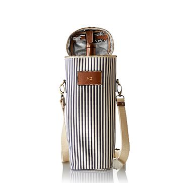 Insulated Wine Tote, Navy and White Stripes