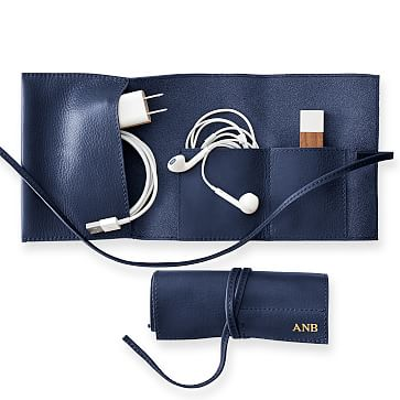 Leather Charger Roll Up, Navy