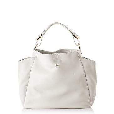 Italian Buckle Hobo Bag, White