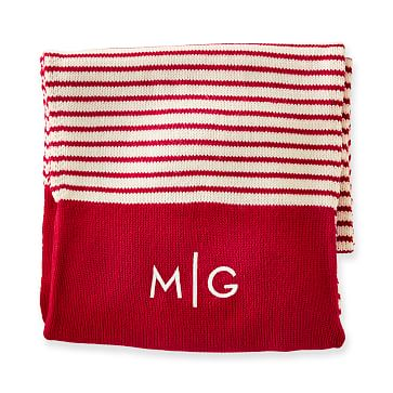 Hidden Pocket Scarf, Red-White Stripe