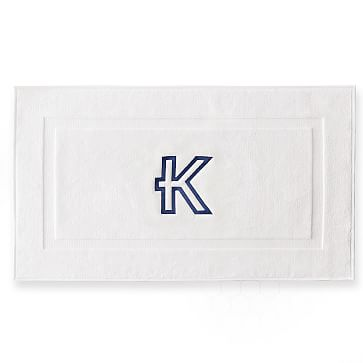 Thick White Bath Mat, White, Monogrammed