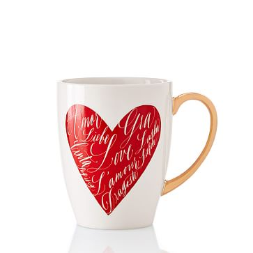 Maybelle Calligraphy Heart Mug, White-Red