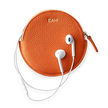 Vivid Leather Earbud Case, Orange