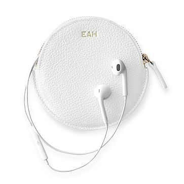 Vivid Leather Earbud Case, White