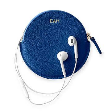 Vivid Leather Earbud Case, Cobalt
