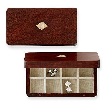 Wood Cufflink Box, Acacia Veneer