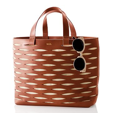 Coastal Cutout Bag, Tan-Linen