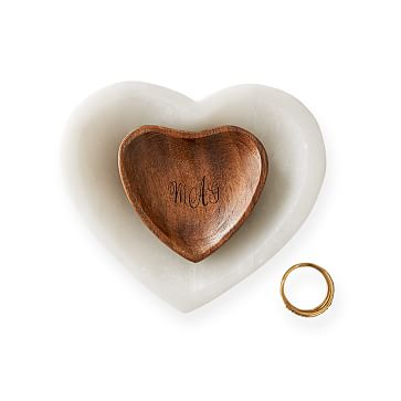 Nested Heart Catchalls, Marble-Acacia