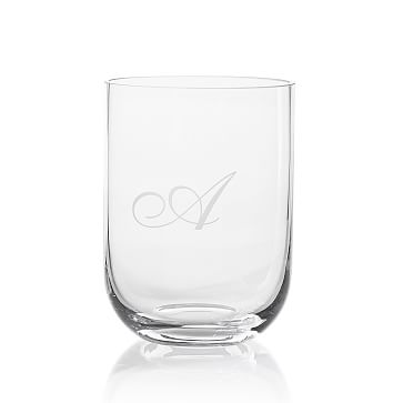 Handblown Vase, 7 inches, Clear, Monogrammed