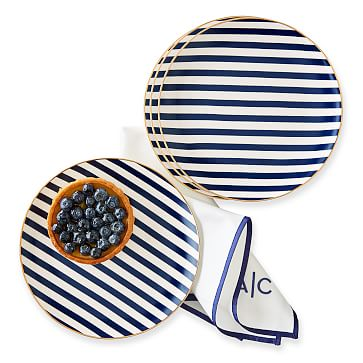 Ceramic Dessert Plates, Set of 4, Navy Stripe