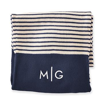 Hidden Pocket Scarf, Navy-White Stripe