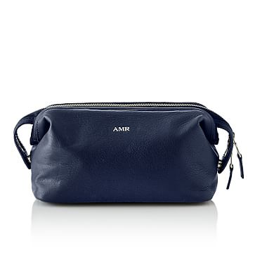 James Leather Grooming Pouch, Navy