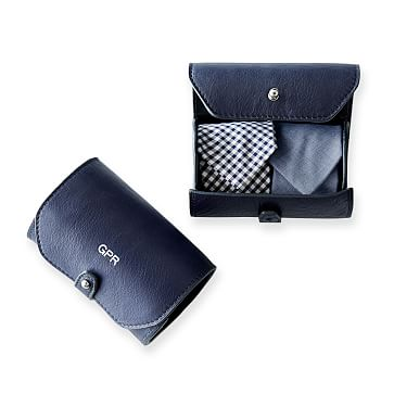 James Leather Tie Roll, Navy