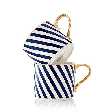 Ceramic Mugs, Set of 2, Navy Stripe