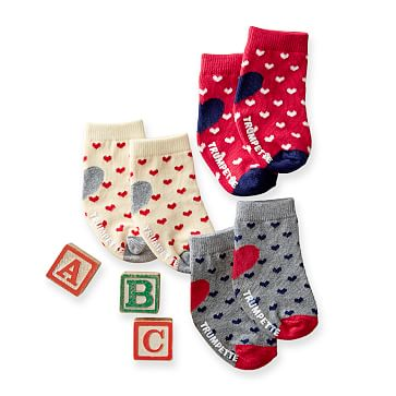 Infant Valentine Sock Set, Set of 3, Multi, 0-12 Months
