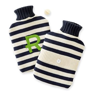 Knit Hot Water Bottle, Navy-White Stripe