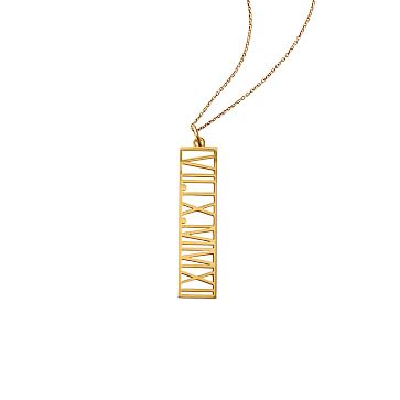 Vertical Roman Numeral Necklace, 18kt Gold Plate
