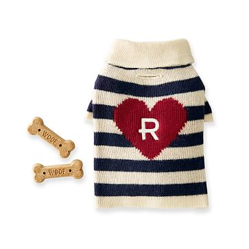Knit Dog Sweater, Extra-Small, Navy and Ivory Stripe