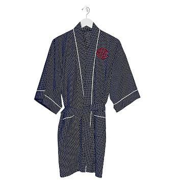 Cotton Kimono Robe, Polka Dot, Navy, Monogrammed, Extra-Small