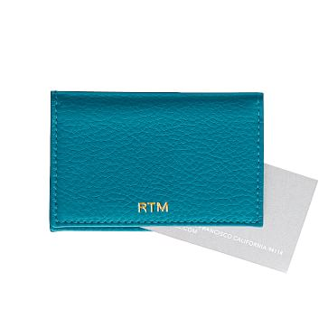 Leather Foldover Business Card Holder, Turquoise