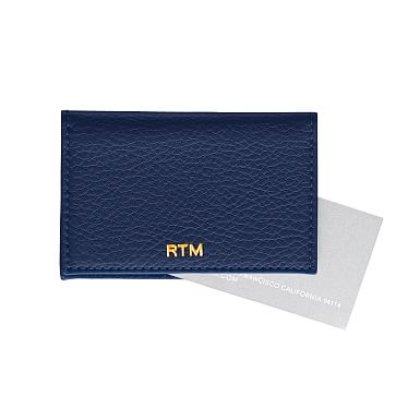 Leather Foldover Business Card Holder, Navy
